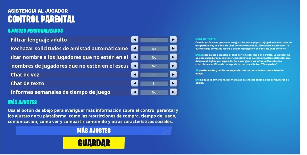 configurar control parental en fortnite